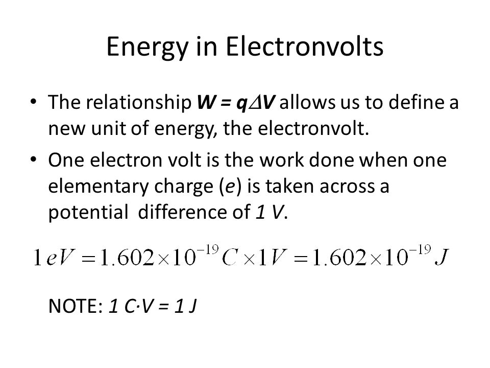 Energy in Electronvolts