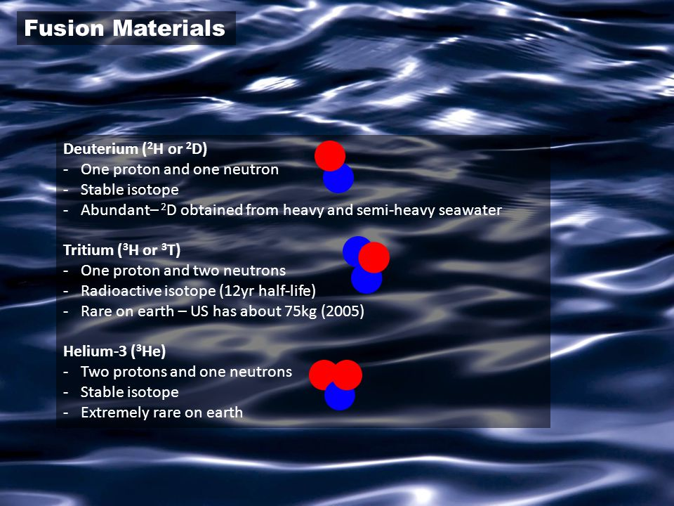Fusion Materials Deuterium (2H or 2D) One proton and one neutron