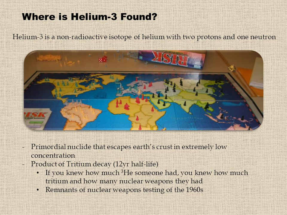 Where is Helium-3 Found Helium-3 is a non-radioactive isotope of helium with two protons and one neutron.