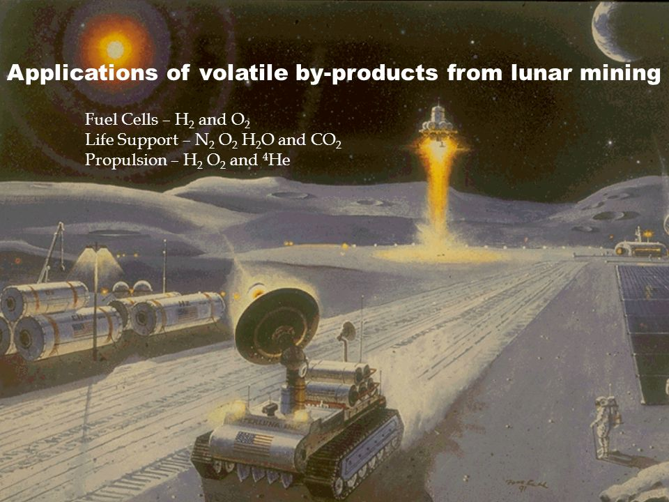 Applications of volatile by-products from lunar mining
