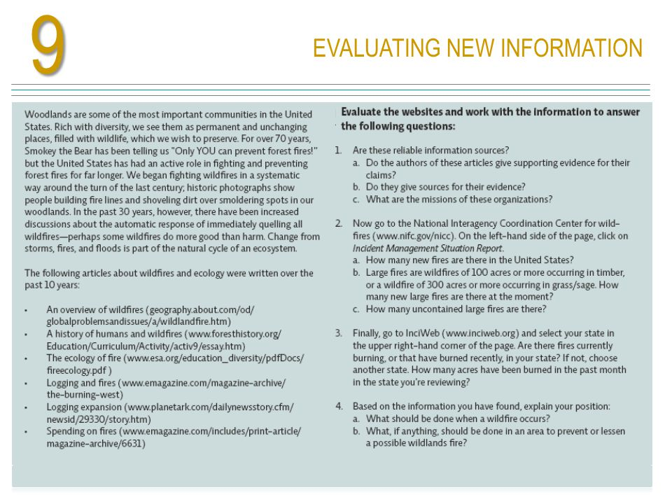 EVALUATING NEW INFORMATION