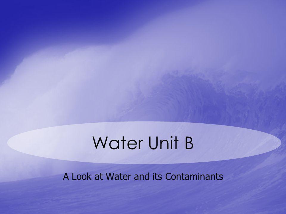A Look at Water and its Contaminants