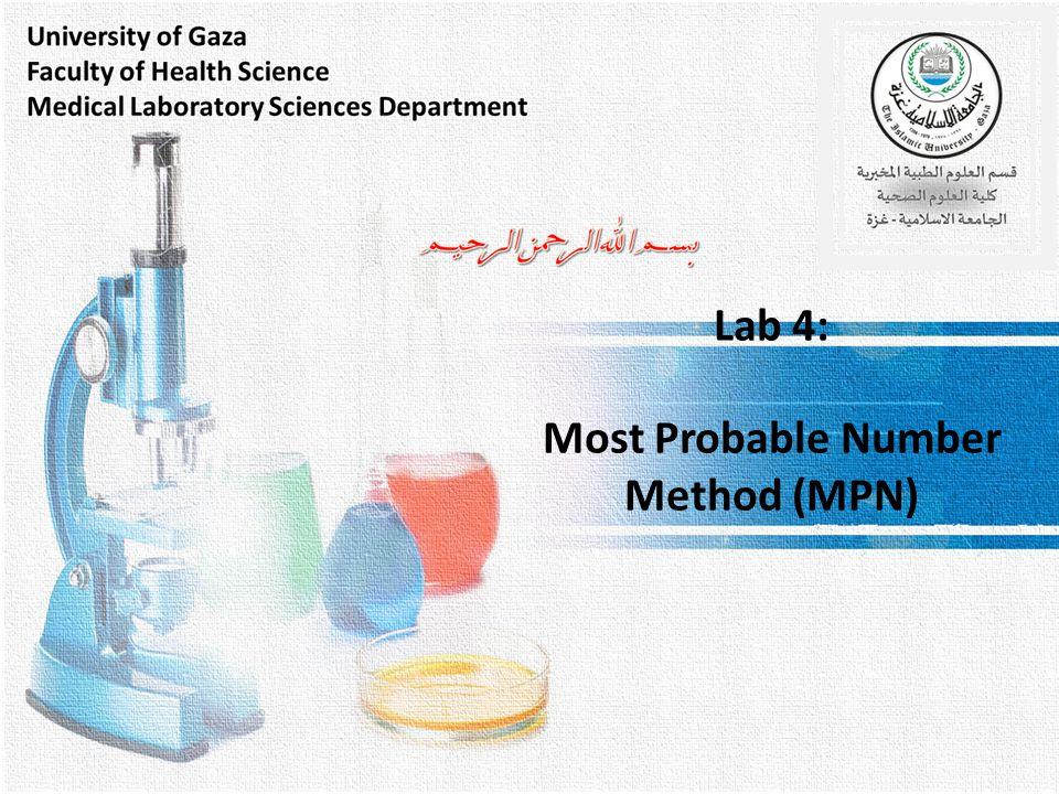 Lab 4: Most Probable Number Method (MPN)