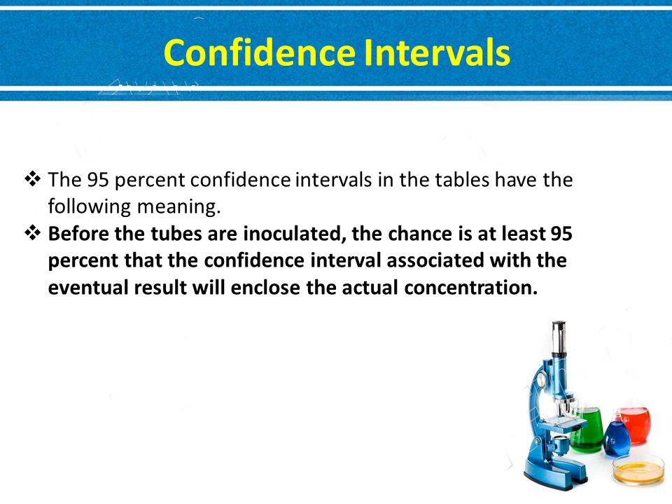 Confidence Intervals The 95 percent confidence intervals in the tables have the following meaning.