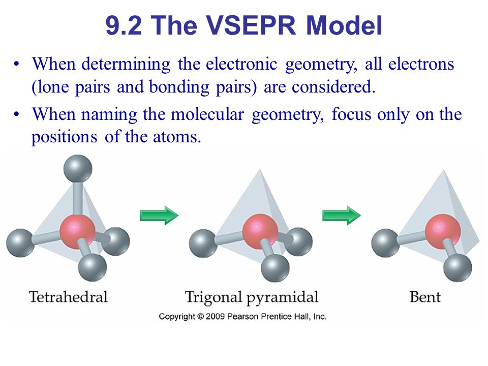 9.2 The VSEPR Model When determining the electronic geometry, all electrons (lone pairs and bonding pairs) are considered.