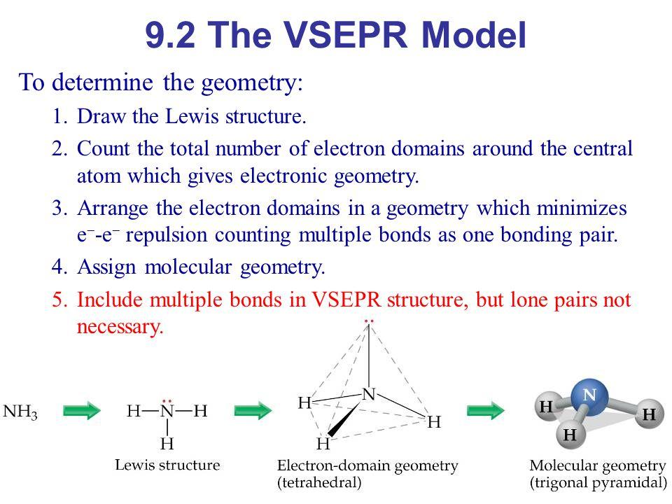 9.2 The VSEPR Model To determine the geometry: