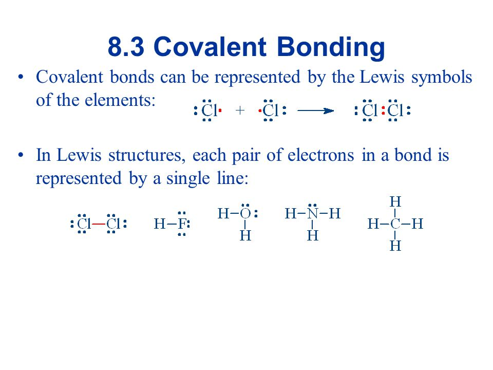8.3 Covalent Bonding Covalent bonds can be represented by the Lewis symbols of the elements: