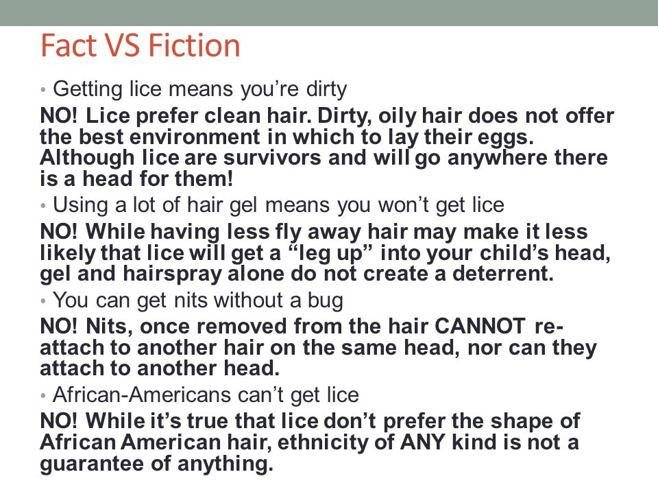Fact VS Fiction Getting lice means you're dirty