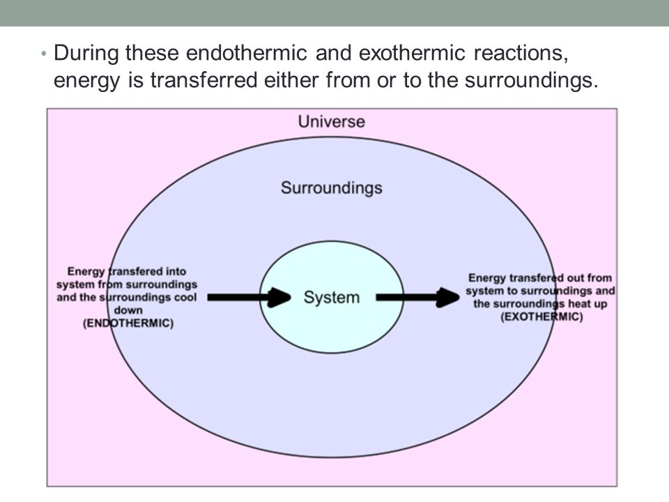 During these endothermic and exothermic reactions, energy is transferred either from or to the surroundings.