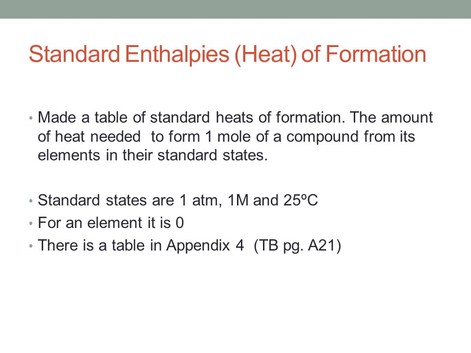 Standard Enthalpies (Heat) of Formation