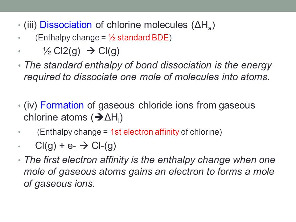 (iii) Dissociation of chlorine molecules (ΔHa) ½ Cl2(g)  Cl(g)