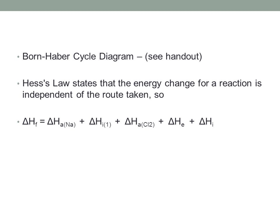 Born-Haber Cycle Diagram – (see handout)