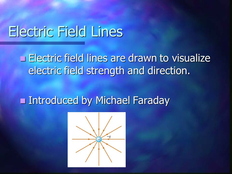 Electric Field Lines Electric field lines are drawn to visualize electric field strength and direction.