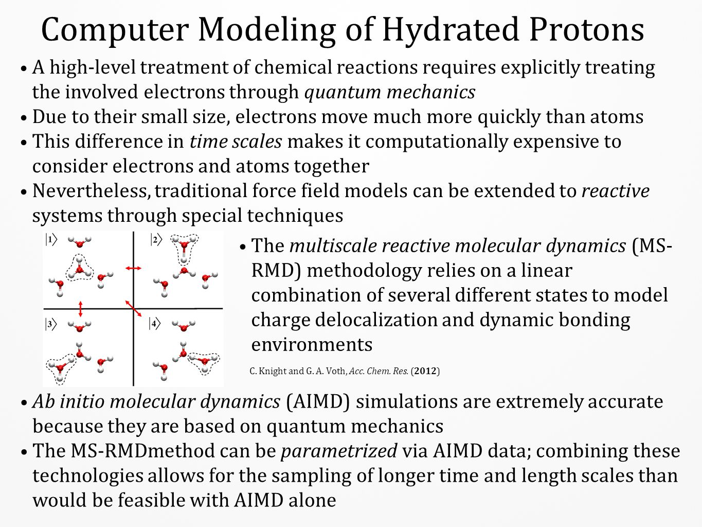 Computer Modeling of Hydrated Protons