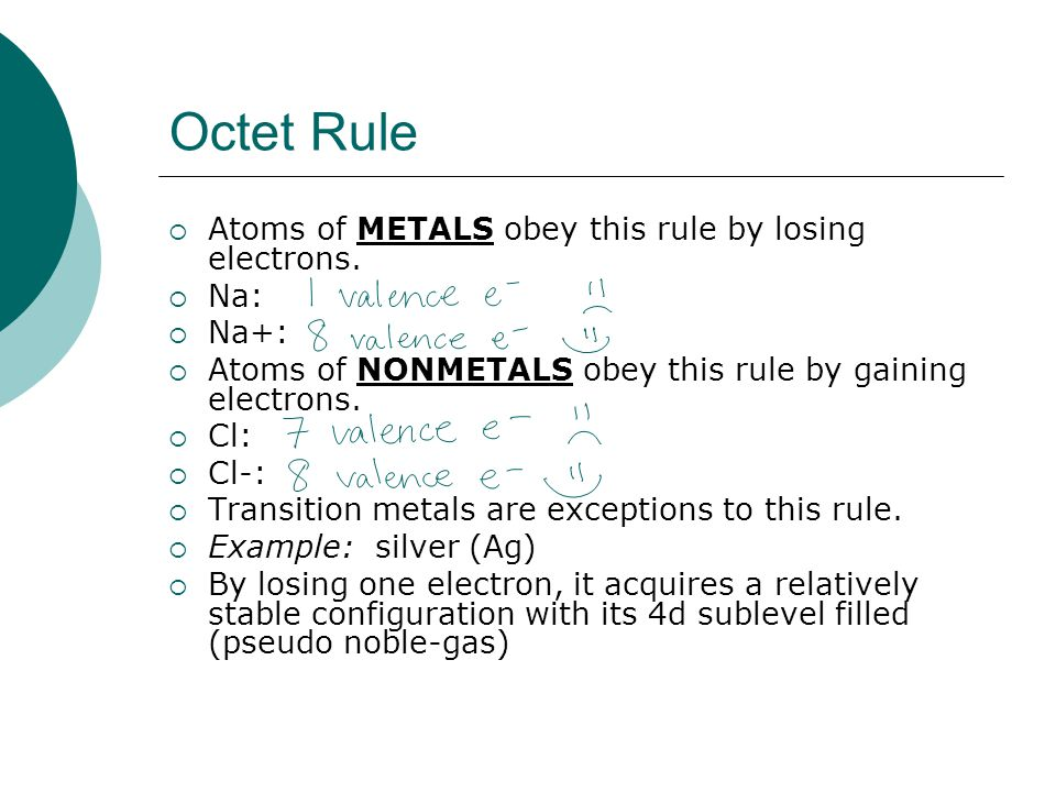 Octet Rule Atoms of METALS obey this rule by losing electrons. Na: