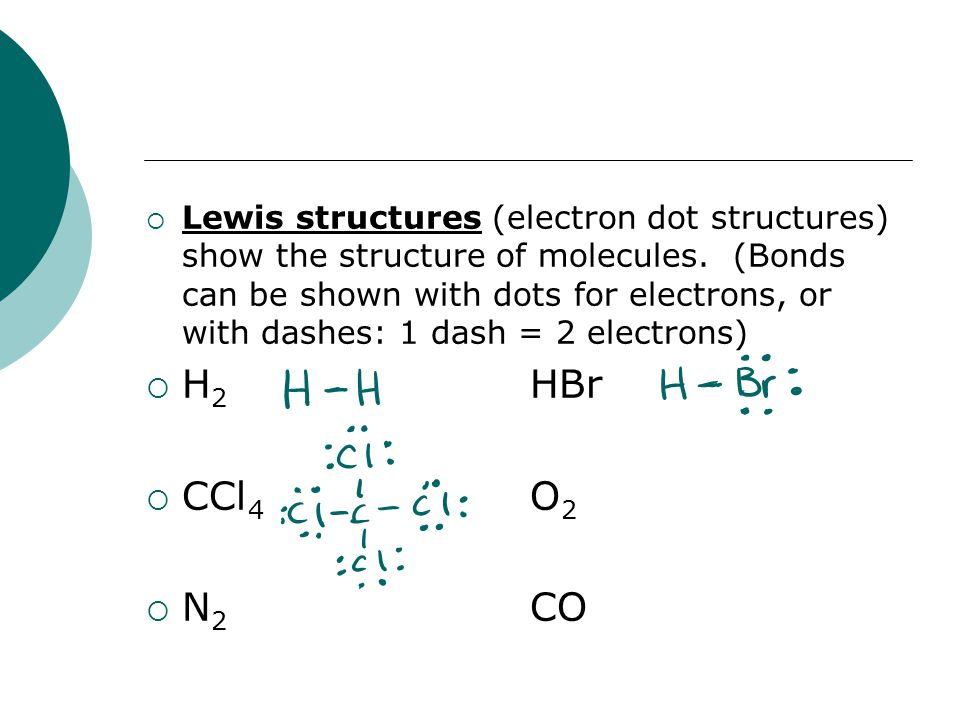 Lewis structures (electron dot structures) show the structure of molecules. (Bonds can be shown with dots for electrons, or with dashes: 1 dash = 2 electrons)