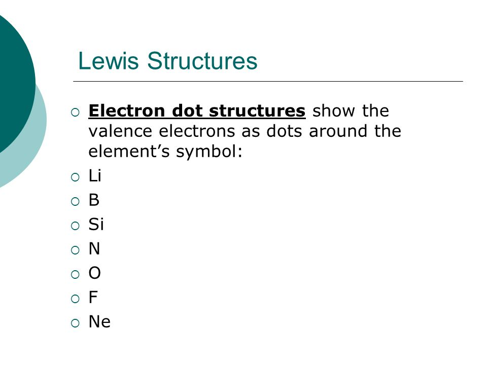 Lewis Structures Electron dot structures show the valence electrons as dots around the element's symbol: