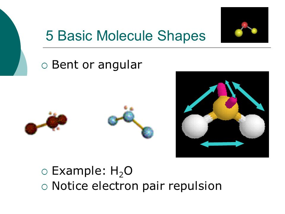 5 Basic Molecule Shapes Bent or angular Example: H2O