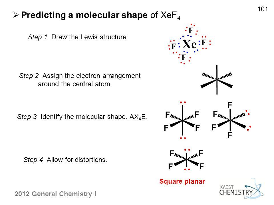 Predicting a molecular shape of XeF4
