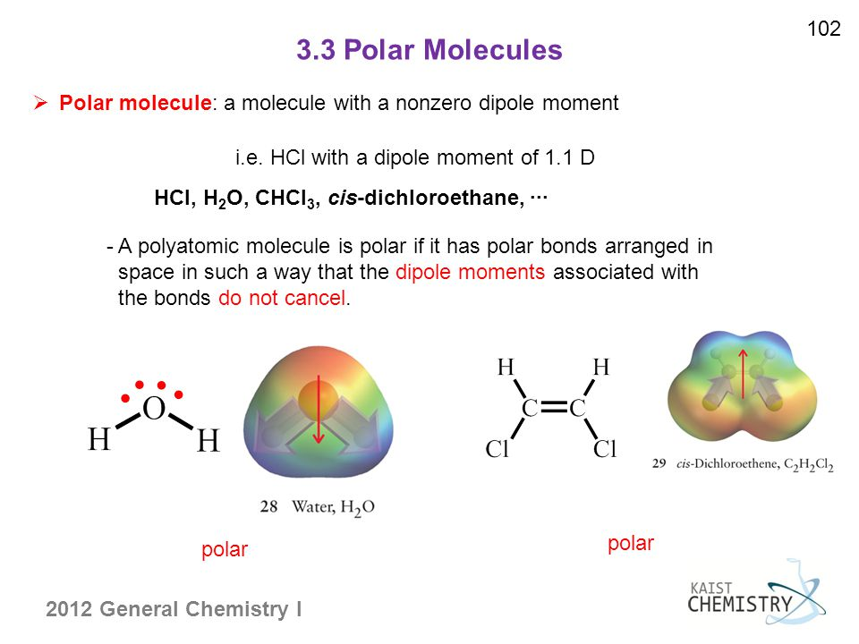 102 3.3 Polar Molecules. Polar molecule: a molecule with a nonzero dipole moment. i.e. HCl with a dipole moment of 1.1 D.