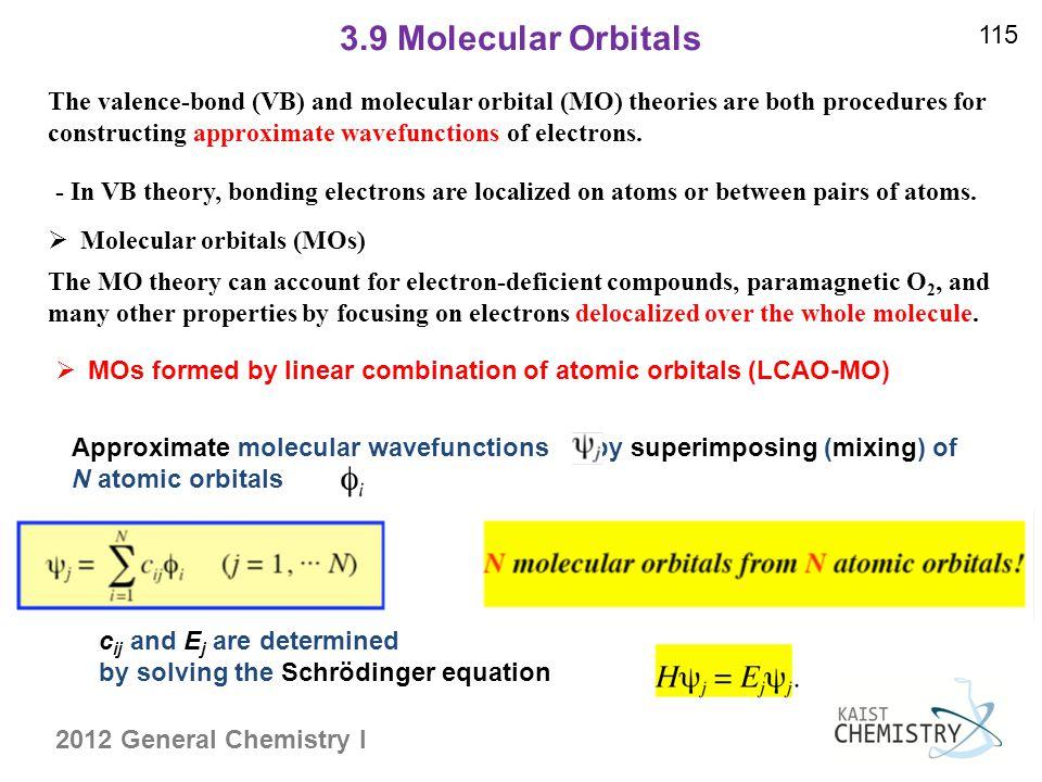 3.9 Molecular Orbitals 115.