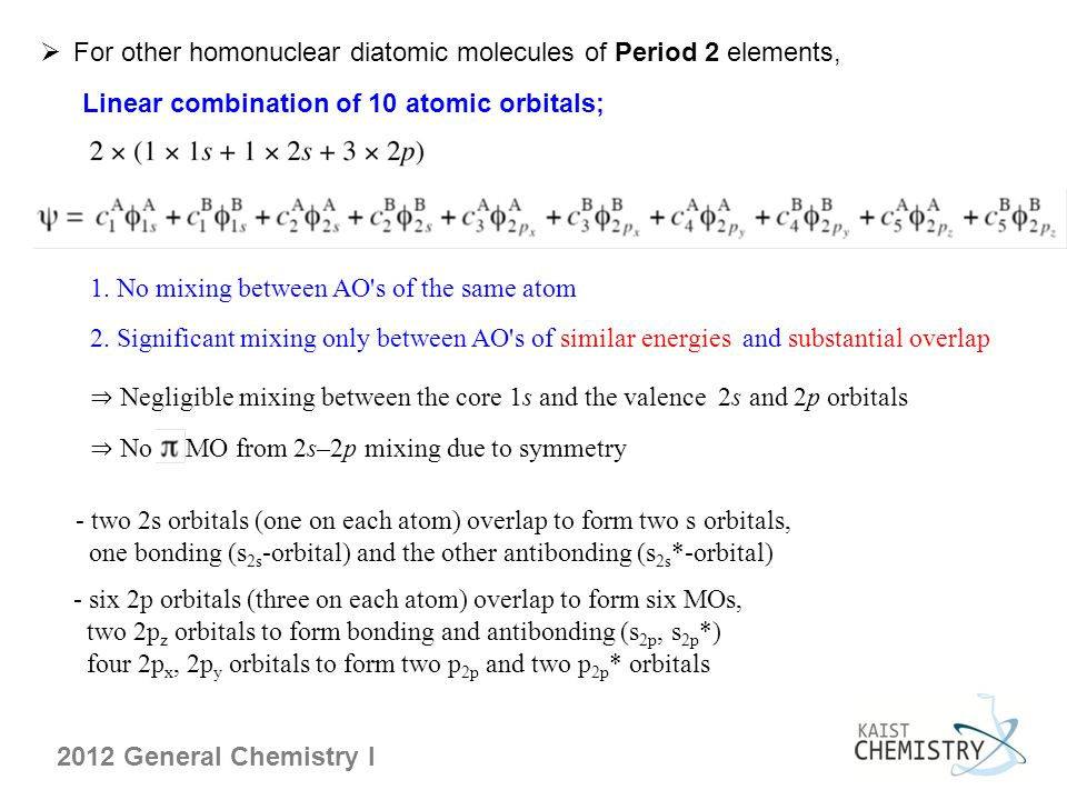 For other homonuclear diatomic molecules of Period 2 elements,