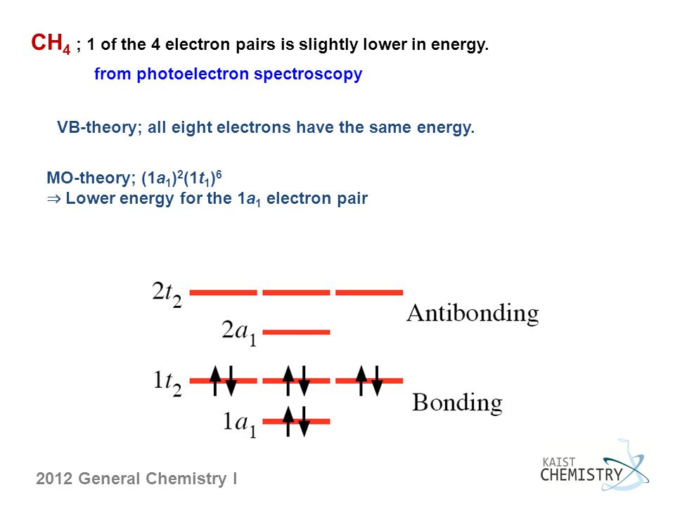 CH4 ; 1 of the 4 electron pairs is slightly lower in energy.