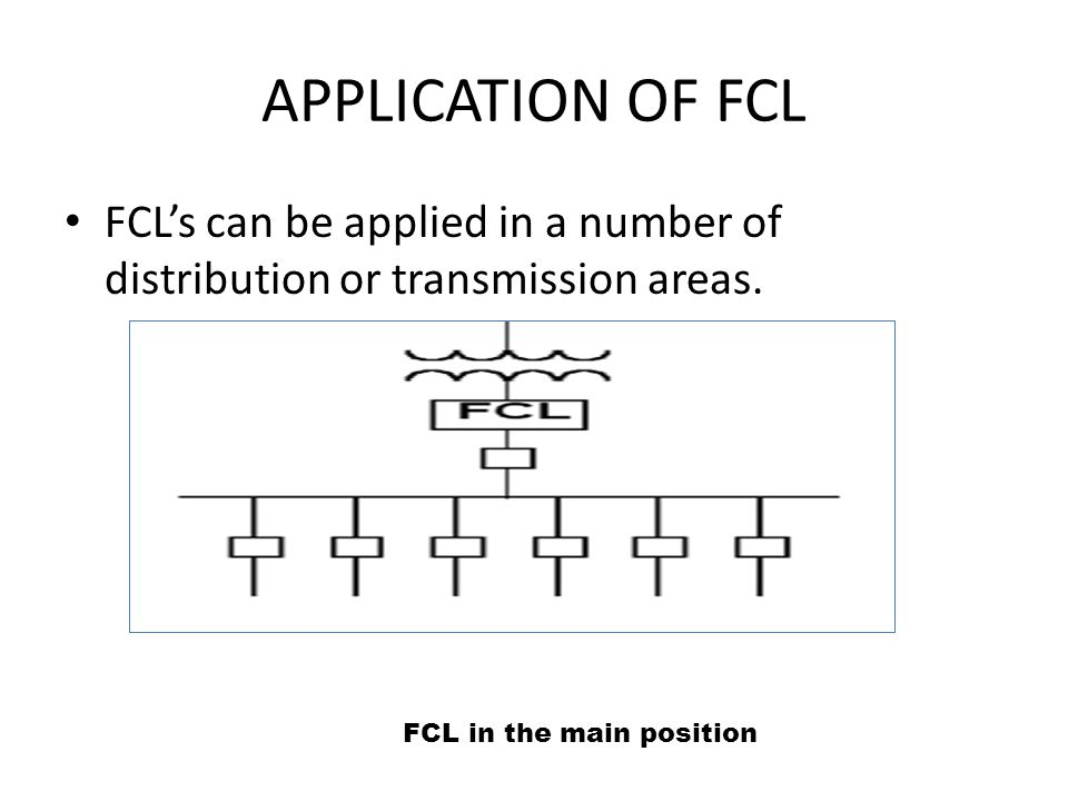 APPLICATION OF FCL FCL's can be applied in a number of distribution or transmission areas.