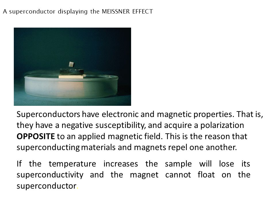 A superconductor displaying the MEISSNER EFFECT
