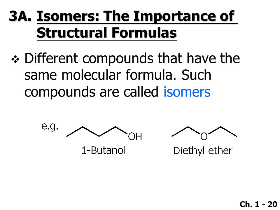 3A. Isomers: The Importance of Structural Formulas