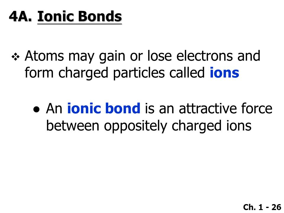 4A. Ionic Bonds Atoms may gain or lose electrons and form charged particles called ions.