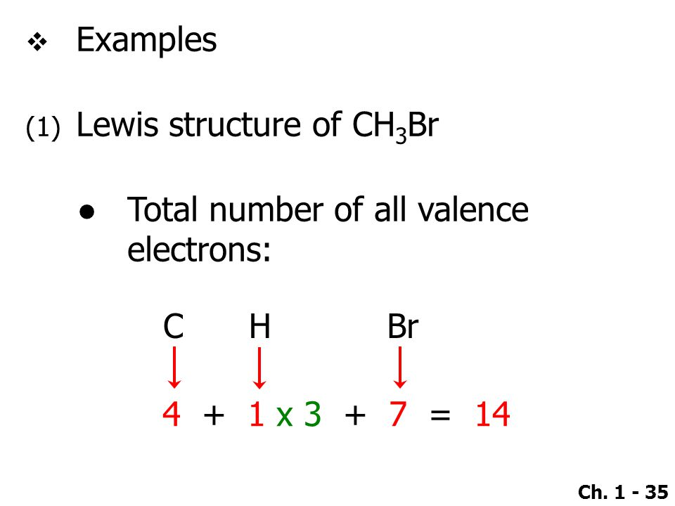 Examples Lewis structure of CH3Br. Total number of all valence electrons: C.