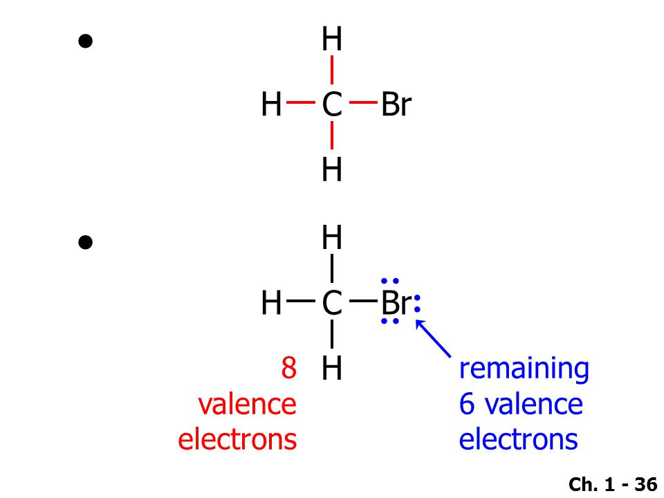 : : : H H C Br H H H C Br H 8 valence electrons