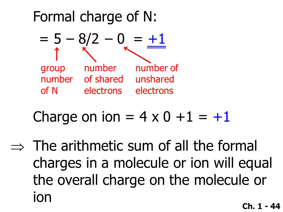 Formal charge of N: – 0 – 8/2 = 5 = +1 Charge on ion = 4 x 0 +1 = +1