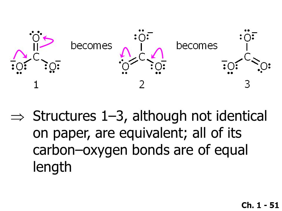  Structures 1–3, although not identical on paper, are equivalent; all of its carbon–oxygen bonds are of equal length