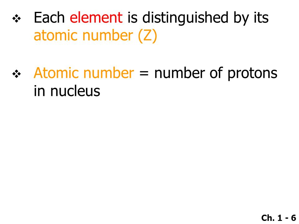 Each element is distinguished by its atomic number (Z)