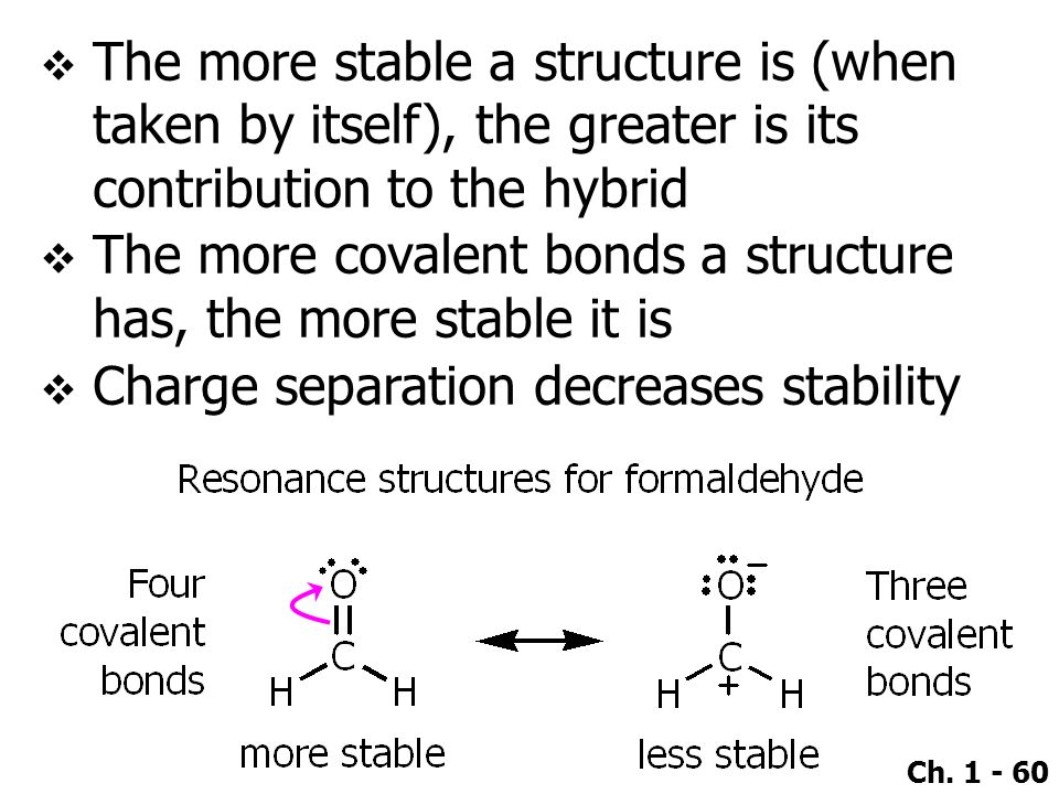 The more stable a structure is (when taken by itself), the greater is its contribution to the hybrid
