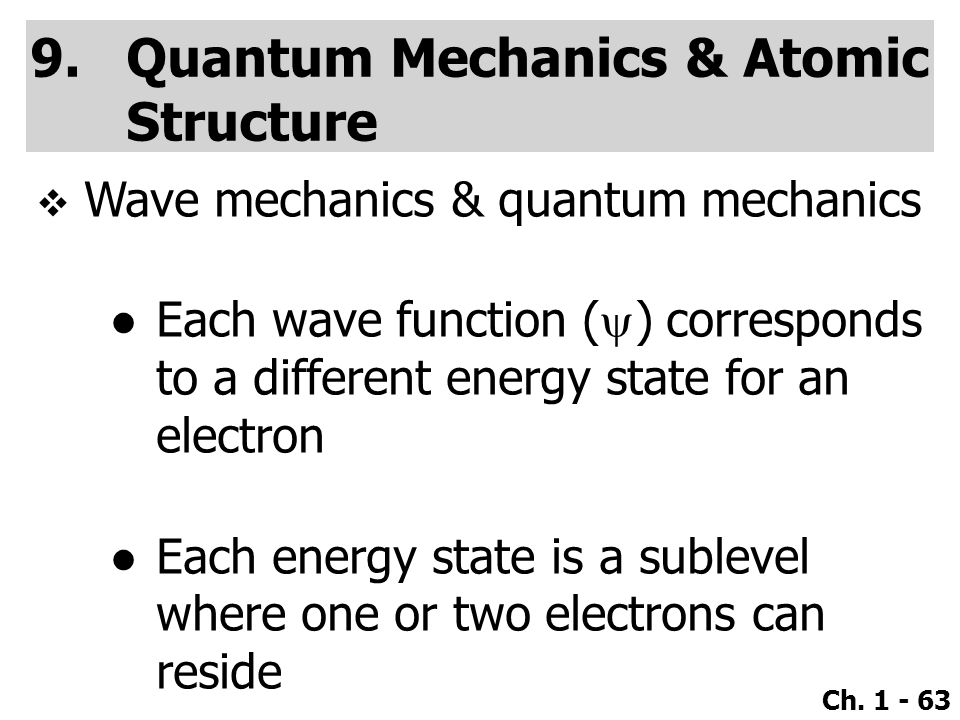 Quantum Mechanics & Atomic Structure