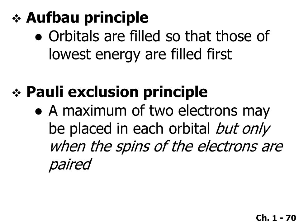 Aufbau principle Orbitals are filled so that those of lowest energy are filled first. Pauli exclusion principle.