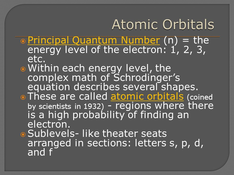 Atomic Orbitals Principal Quantum Number (n) = the energy level of the electron: 1, 2, 3, etc.