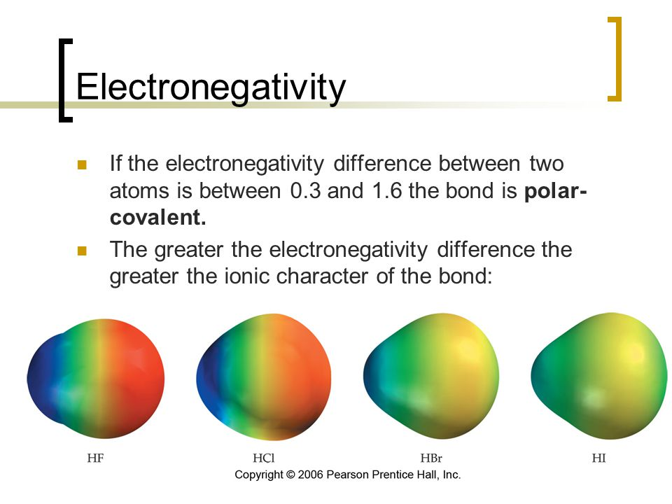 Electronegativity If the electronegativity difference between two atoms is between 0.3 and 1.6 the bond is polar-covalent.