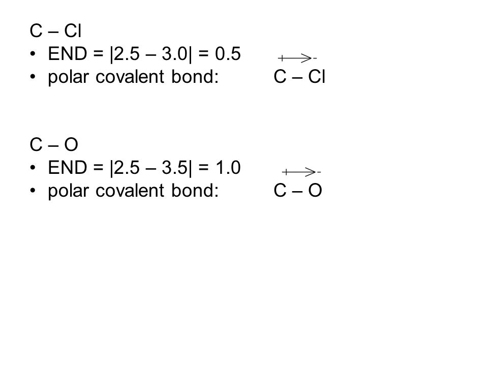 C – Cl END = |2.5 – 3.0| = 0.5. polar covalent bond: C – Cl.