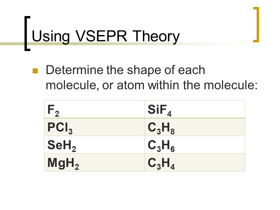 Using VSEPR Theory Determine the shape of each molecule, or atom within the molecule: F2. SiF4. PCl3.