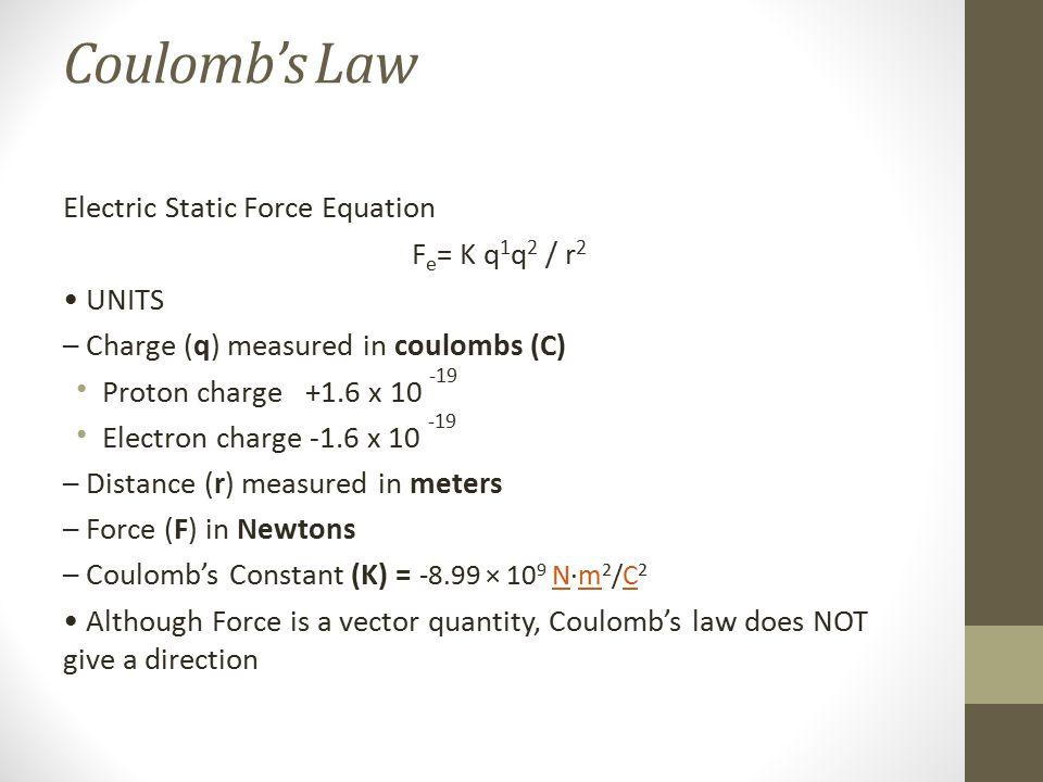 Coulomb's Law Electric Static Force Equation Fe= K q1q2 / r2 • UNITS