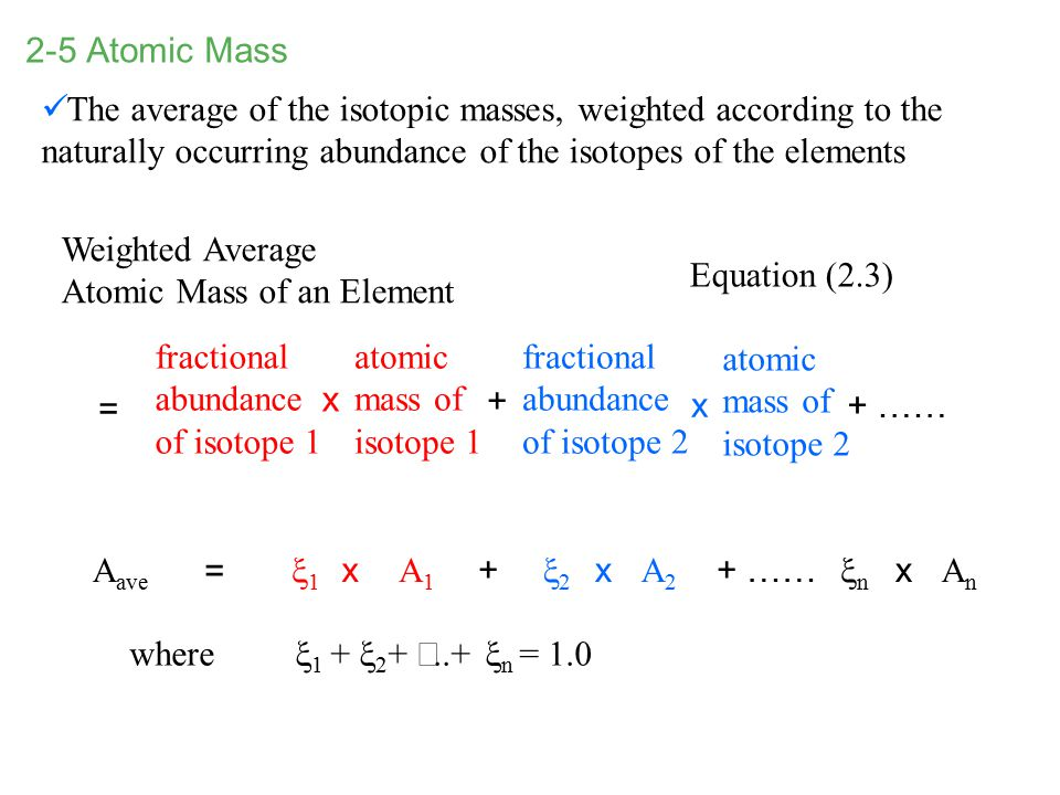 2-5 Atomic Mass The average of the isotopic masses, weighted according to the naturally occurring abundance of the isotopes of the elements.