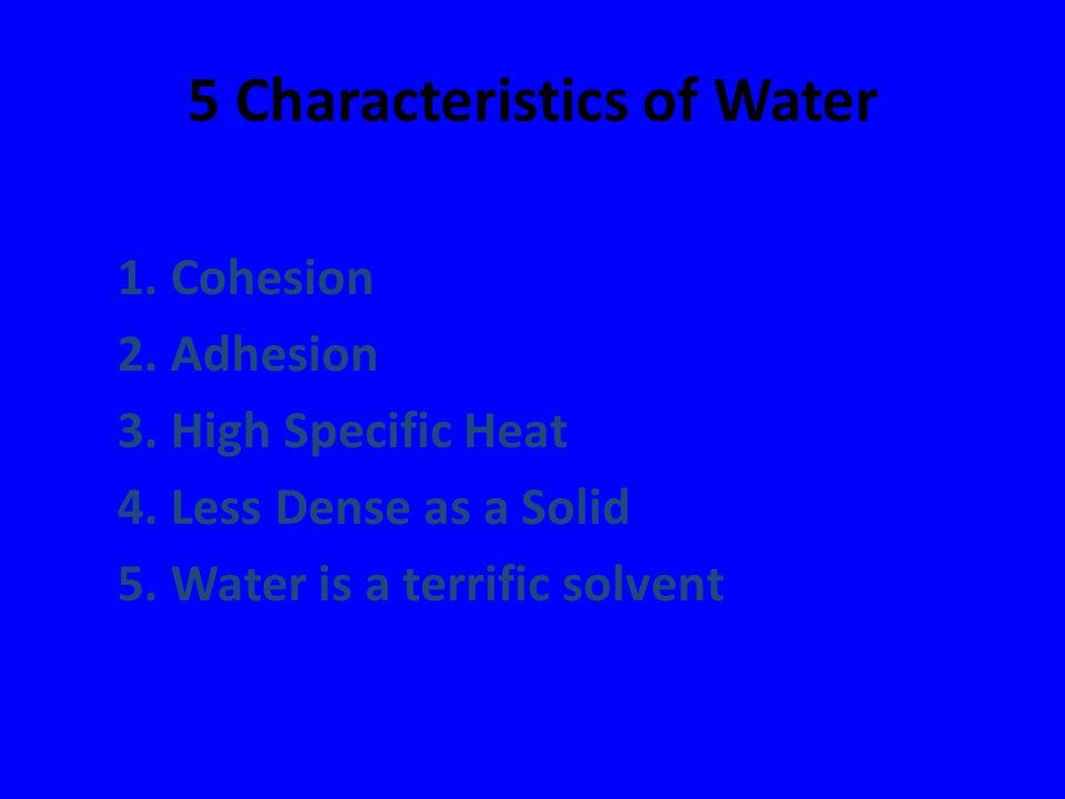 5 Characteristics of Water