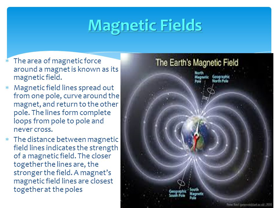 Magnetic Fields The area of magnetic force around a magnet is known as its magnetic field.