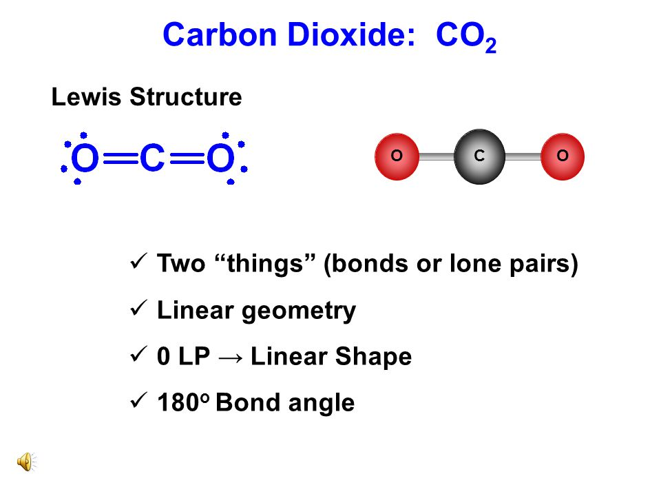 Carbon Dioxide: CO2 Lewis Structure Two things (bonds or lone pairs)