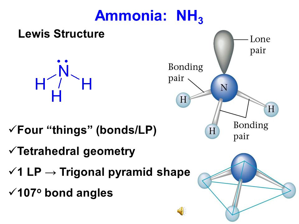 Ammonia: NH3 Lewis Structure Four things (bonds/LP)