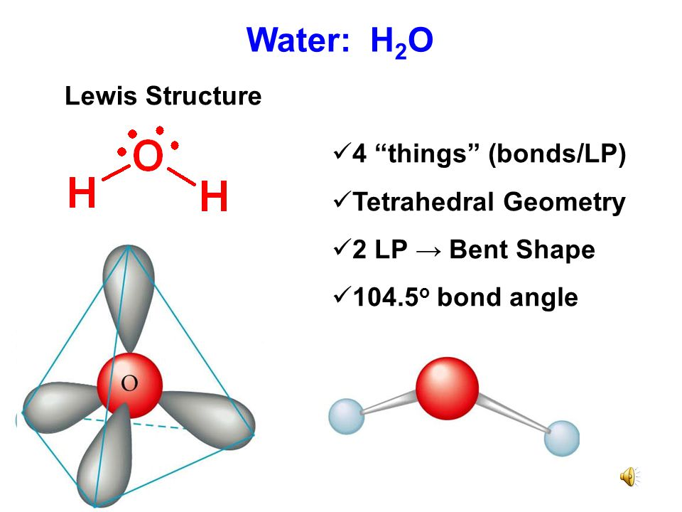 Water: H2O Lewis Structure 4 things (bonds/LP) Tetrahedral Geometry